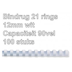 Bindrug GBC 12mm 21rings A4 wit 100stuks
