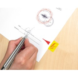 """Indextabs 3M Post-it 68031 25x43.2mm """" hier ondertekenen"""" geel"""