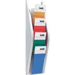 Folderhouder Helit wand 4x1/3 A4 zilver