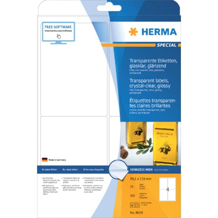 Etiket Herma 8019 99.1x139mm 100st transparant